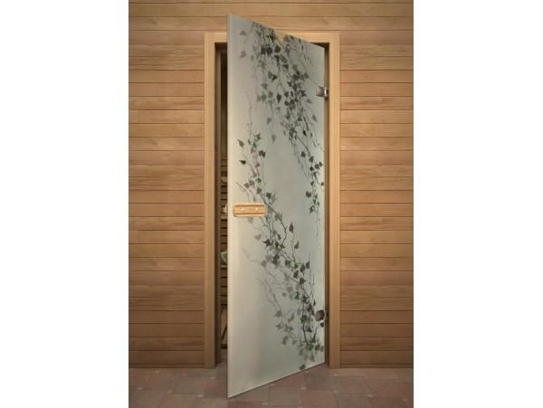 """Стеклянная дверь для бани Акма """"Березка"""" АРТ-серия Фьюзинг (690*1890 мм)"""