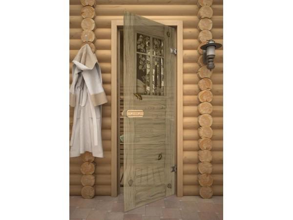 """Стеклянная дверь для бани Акма """"Оконце"""" АРТ-серия Фьюзинг (690*1890 мм)"""
