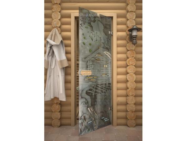 """Стеклянная дверь для бани Акма """"Пейзаж"""" АРТ-серия Фьюзинг (690*1890 мм)"""