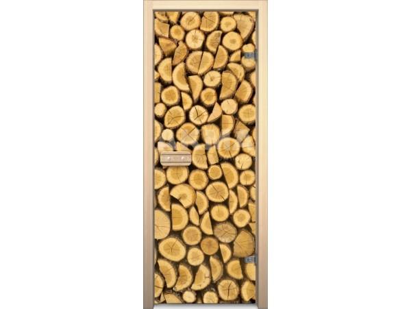 """Стеклянная дверь для бани Акма """"Поленница"""" АРТ-серия Цветной Глассджет (690*1890 мм)"""