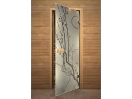 """Стеклянная дверь для бани Акма """"Сакура"""" АРТ-серия Фьюзинг (690*1890 мм)"""