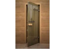 """Стеклянная дверь для бани Акма """"Старое дерево"""" АРТ-серия Цветной Глассджет (690*1890 мм)"""