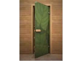 """Стеклянная дверь для бани Акма """"Зеленые листья"""" АРТ-серия Цветной Глассджет (690*1890 мм)"""