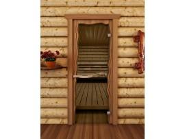 """Стеклянная дверь для бани и сауны Doorwood """"Круиз"""" (бронза, 690*1890 мм)"""