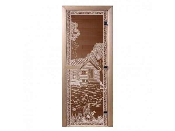 """Стеклянная дверь для бани Doorwood серия """"Банька в лесу"""" (бронза, 700*1900 мм)"""