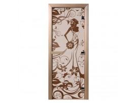 """Стеклянная дверь для бани Doorwood серия """"Девушка в цветах"""" (бронза матовая, 700*1900 мм)"""