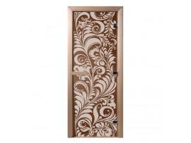 """Стеклянная дверь для бани Doorwood серия """"Хохлома"""" (бронза, 700*1900 мм)"""
