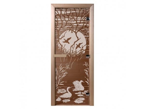 """Стеклянная дверь для бани Doorwood серия """"Лебединое озеро"""" (бронза, 700*1900 мм)"""