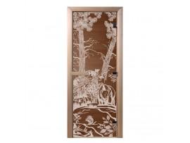 """Стеклянная дверь для бани Doorwood серия """"Мишки в лесу"""" (бронза, 700*1900 мм)"""