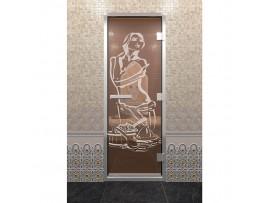 Дверь для турецкой парной Doorwood стекло бронзовое с рисунком, 2 размера