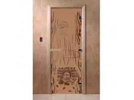 Дверь для бани Doorwood Бронза матовая с рисунком, коробка ольха, липа, береза 2 размера