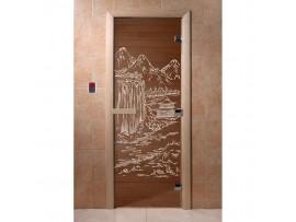 Дверь для бани Doorwood Бронза с рисунком, коробка ольха, липа, береза 2 размера