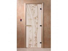 Дверь для бани Doorwood Сатин с рисунком, коробка ольха, липа, береза 2 размера