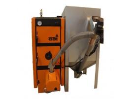 Твердотопливный отопительный котел GTM Pellet Master 100 kWt с горелкой UNI-MAX (автоматическая система самоочистки топки) бункер